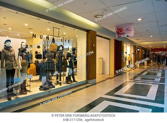 Shops inside Lingotto centre former Fiat factory buildings Lingotto district Turin Piedmont region Italy Europe