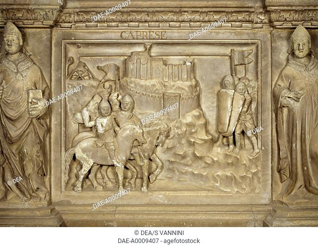 Episode in the life of the late Guido Tarlati, bishop and lord of the city of Arezzo, tile from the Cenotaph to Guido Tarlati, 1330