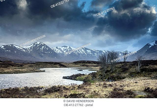 Scenic river and view of Black Mountains, Rannoch Moor, Scotland
