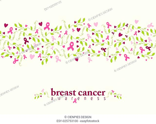 Breast cancer awareness seamless pattern with pink ribbon, heart shape and spring nature elements. EPS10 vector file