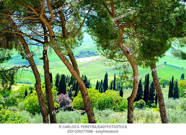 View from Pienza across the countryside Italy Europe