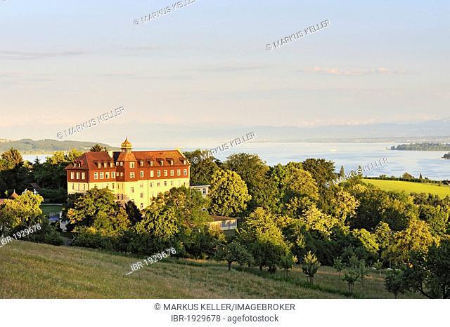 The Schloss Spetzgart castle above Ueberlingen in the evening light, Bodenseekreis county, Baden-Wuerttemberg, Germany, Europe