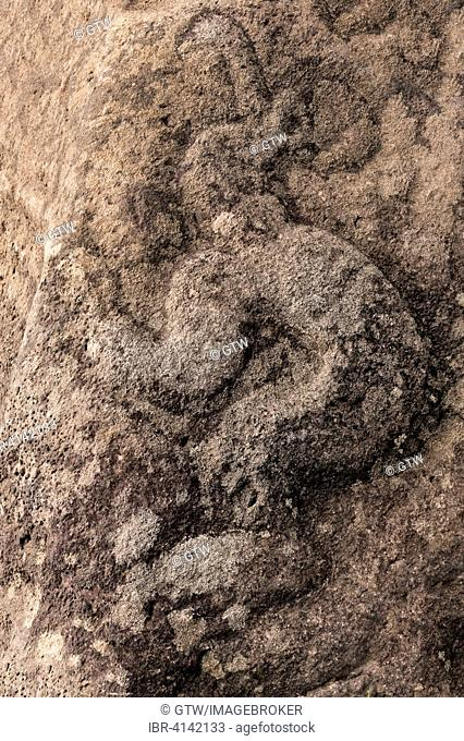 Birdman petroglyph, Rano Kau volcano, Honga Roa, Unesco World Heritage Site, Rapa Nui National Park, Easter Island, Chile