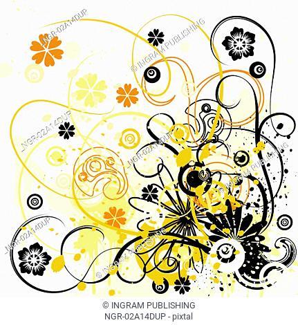 Grunge floral background, vector