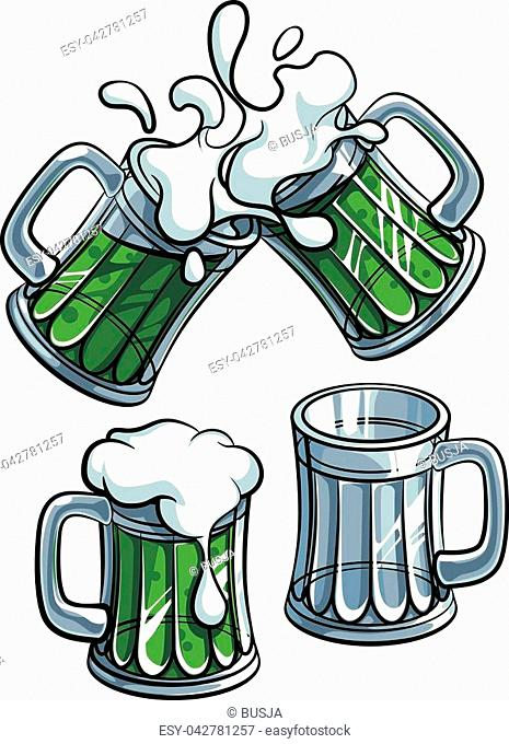 Vector colourful illustration of beer glasses with green beverage, isolated on white background. File doesn't contains gradients, blends