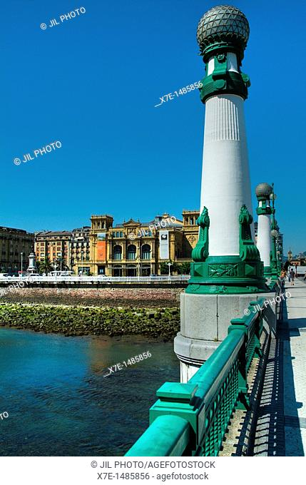 Kursaal bridge and Victoria Eugenia Theater  Spanish neo-Renaissance  1912 , Donostia-San Sebastian, European Capital of Culture 2016  Guipuzcoa, Basque Country