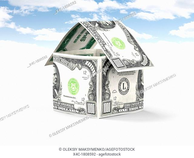 House made of money, thousand US dollar bills standing under blue sky isolated on white background  Property, real estate, housing concept