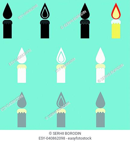 Candle different colour it is icon set
