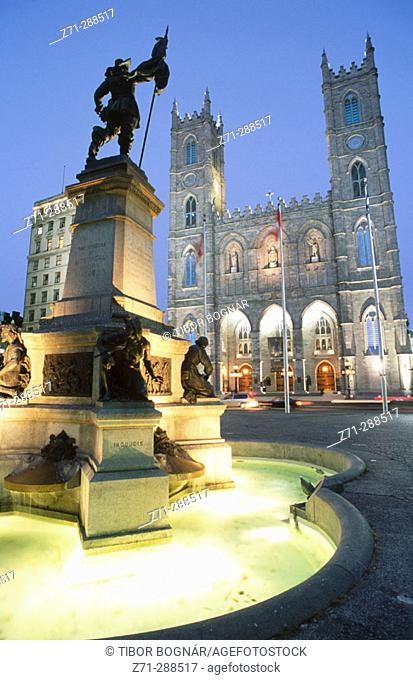 Place d'Armes and church of Notre Dame. Montreal. Quebec. Canada