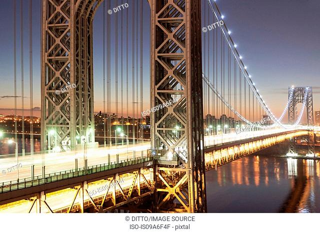 George Washington Bridge at dusk, New York City, USA
