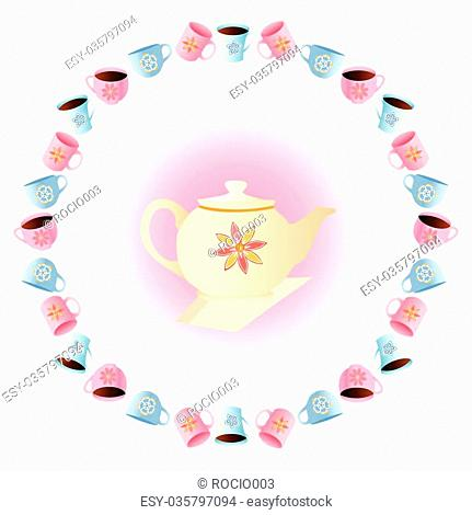 It is a vector illustration of a tea party vector