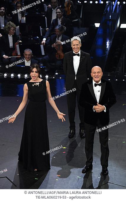 Claudio Baglioni, Virginia Raffaele, Claudio Bisio during Sanremo second evening. 69th Festival of the Italian Song. Sanremo, Italy 06 Febr 2019