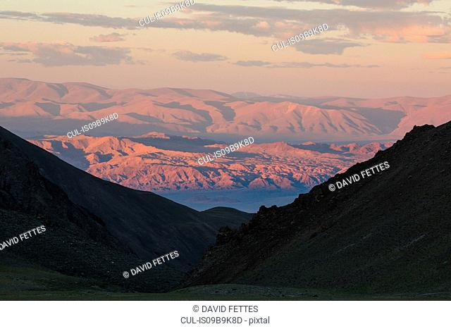 Scenic view of Altai Mountains at sunrise, Khovd, Mongolia