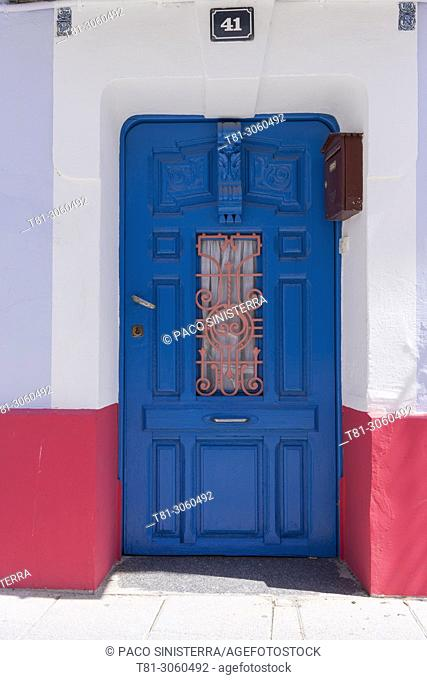 Blue door in Cordoba, Andalucia, Spain