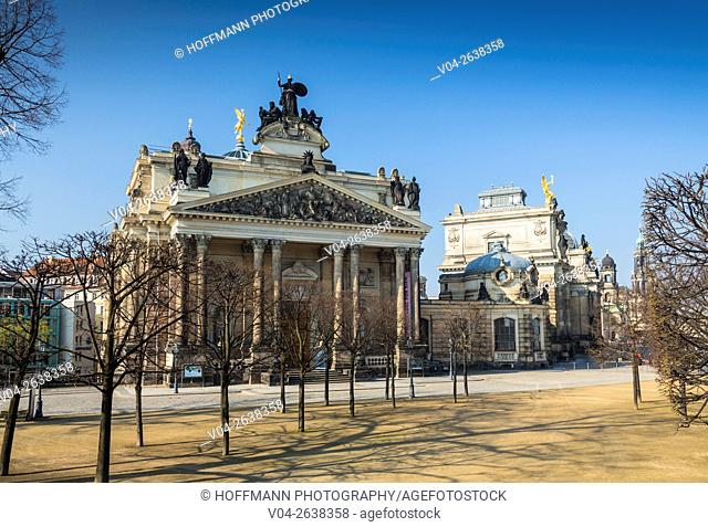 Facade of the beautiful Art Academy in Dresden, Saxony, Germany, Europe