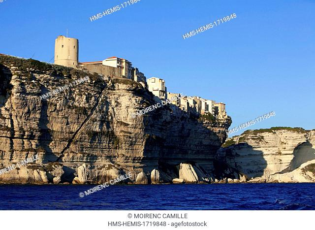 France, Corse du Sud, Bonifacio, limestone cliffs and the upper town, on the left Torrione