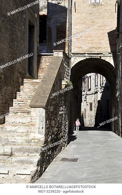 historic alley of the city of Narni, near Terni, Umbria, Italy