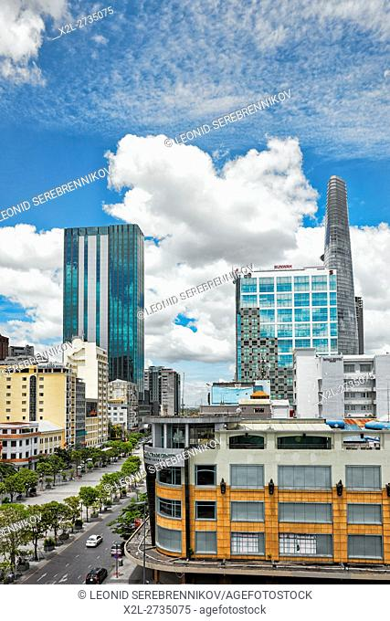 Elevated city view. District 1, Ho Chi Minh City, Vietnam