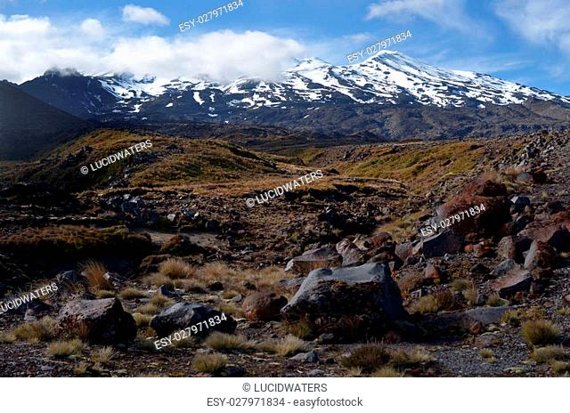 NATIONAL PARK, NZ - DEC 8 2014:Mount Ruapehu.It began erupting at least 250,000?years ago. In recorded history, major eruptions have been about 50?years apart