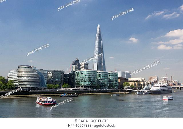 Building, City, City Hall, London, England, Shard, UK, architecture, boat, new, river, Thames, river, tourism, tower, travel, More London