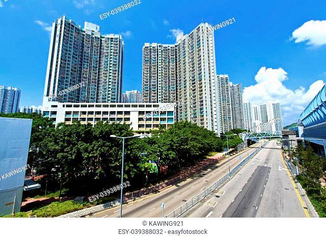 Hong Kong apartment blocks at day