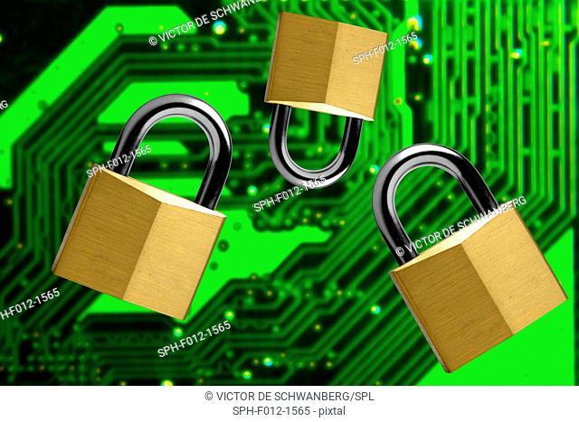 Padlocks and a circuit board