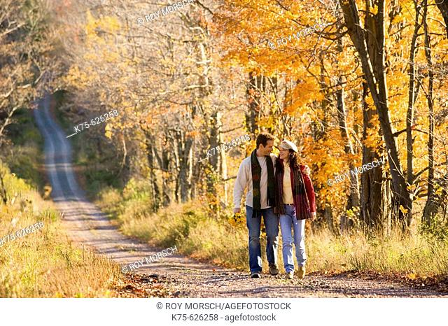 Caucasian couple, age 30's to 40's, country road, smiling, walking, hugging