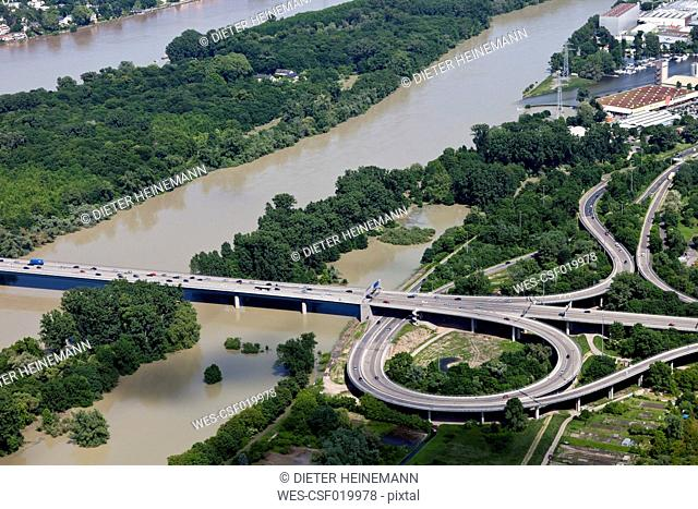 Germany, Hesse, View of motorway bridge near Wiesbaden at high water of River Rhine, aerial photo