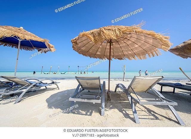 Chaise-longue. in a beach in Isla Holbox, Quintana Roo (Mexico)
