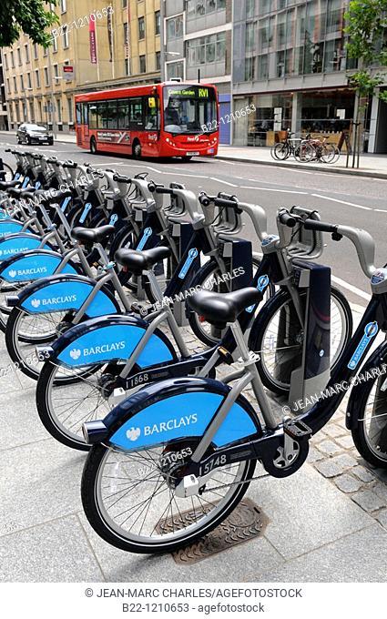 Barclays cycle hire, London. United Kingdom
