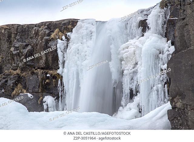 Oxararfoss Winter Waterfall, Thingvellir National Park, Iceland