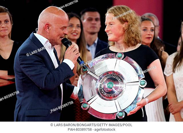 MUNICH, GERMANY - MAY 14: FC Bayern Muenchen player Melanie Behringer (R) is interviewd by speaker Stefan Lehmann during the FC Bayern Muenchen Bundesliga...