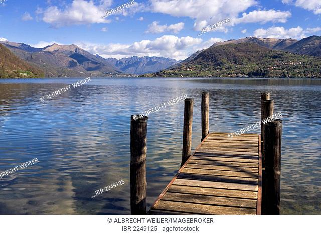 Jetty at Lago d'Orta, Lake Orta, Piedmont, Italy, Europe, PublicGround