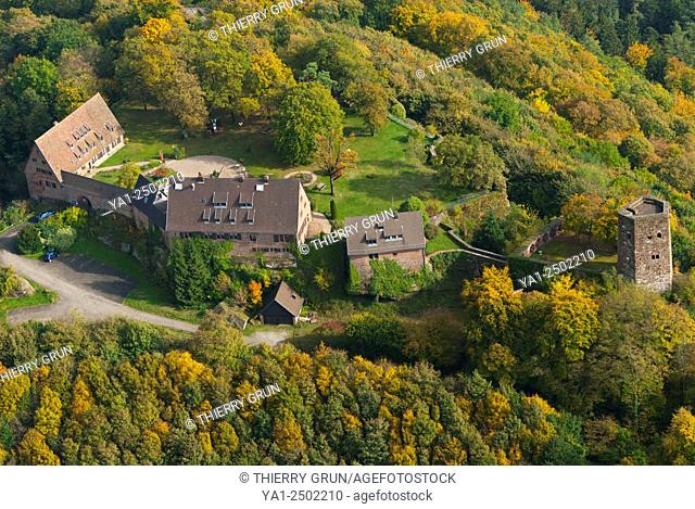 France, Bas Rhin 67, Neuwiller-les-Saverne, Chateau de Hunebourg castle, currently an hotel restaurant aerial view