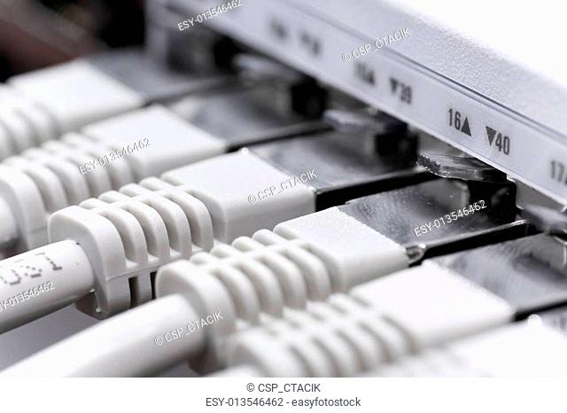 lan cables connected to a switch