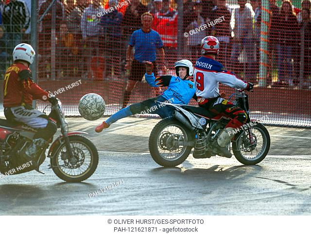 0: 1 for Russia, Ivan Krischtopa (RUS), in goal Jens Kehrer (GER). GES / Motoball / European Championship, Final: Germany - Russia, 22.06.2019