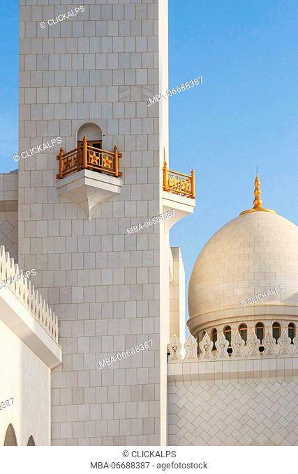 Abu Dhabi, United Arab Emirates. Domes of the Sheikh Zayed Grand Mosque at sunset