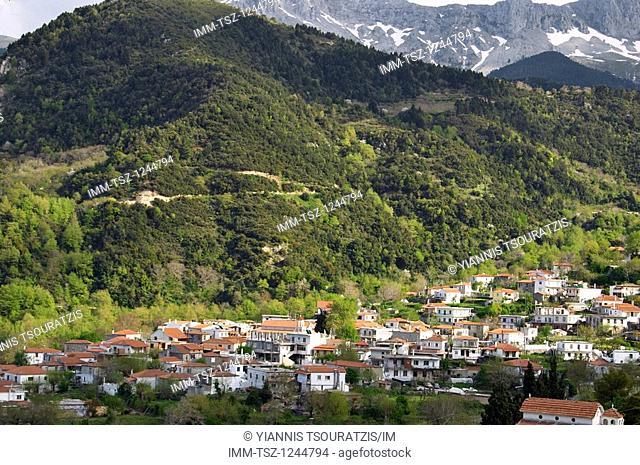 Village Stropones located below the mountains Dirfi and Xirovouni. Stropones, Halkida, Evia, Central Greece, Europe