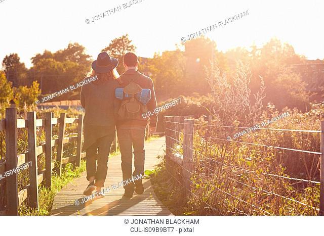 Couple enjoying walk on marshes