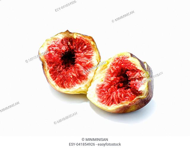 Fresh common fig (Ficus carica) isolated on white background