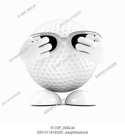 3d Golf ball hides his face