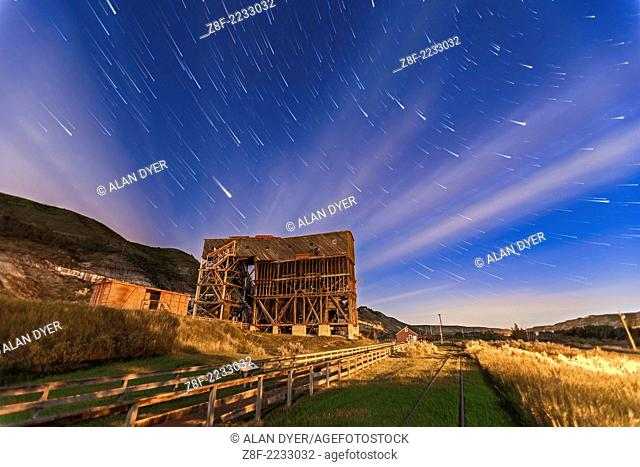 The old Atlas Coal Mine near East Coulee, Alberta, now a museum and tourist attraction. This is a composite of 20 x 1 minute exposures with the Canon 5D MkII...