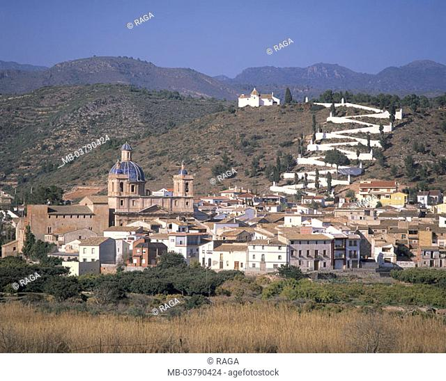 Spain, close to Sagunto, skyline, Church  Europe, village, houses, residences, Pfarrkirche, Dome, rise, blue-white stairway ascent, chapel, rural, idylls