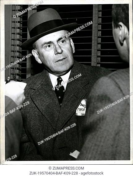 Apr. 04, 1957 - John J. Mc Cloy special consultant to U.N. Secretary General Ha----skjoid, talks to reporters after his arrival here today via TWA from Cairo