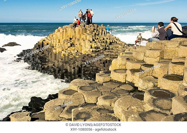 The Giants Causeway near Bushmills, Northern Ireland  Volcanic basalt rock hexagonal columns of the Honeycomb formation