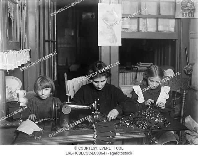 Child labor, making garters for Liberty Garter works, Mrs. Finkelstein, Bessie, age 13, Sophie, age 7. Girls attend school, Mother a widow