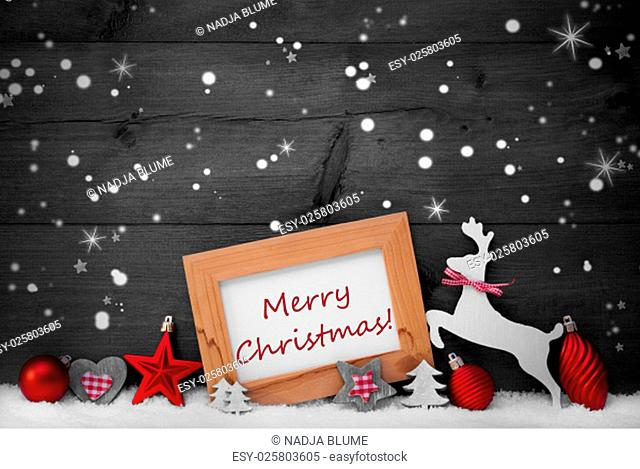 Gray Christmas Card With Picture Frame On White Snow, Snowflakes And Stars. English Text Merry Christmas. Red Christmas Decoration Like Ball, Tree And Reindeer