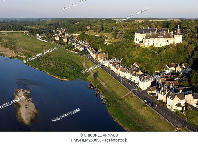 France, Loir et Cher, Loire Valley listed as World Heritage by UNESCO, Chaumont sur Loire, the village, the castle and the Loire Valley aerial view