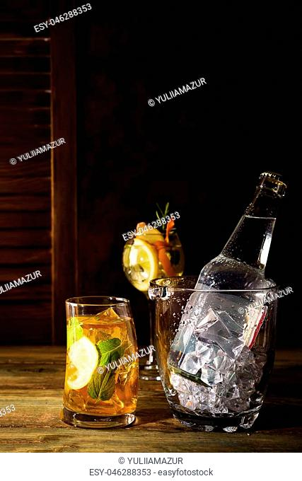 Bottle vodka ice bucket Stock Photos and Images | age fotostock