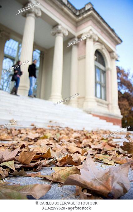 Hojas caídas frente al Palacio de Cristal, Madrid